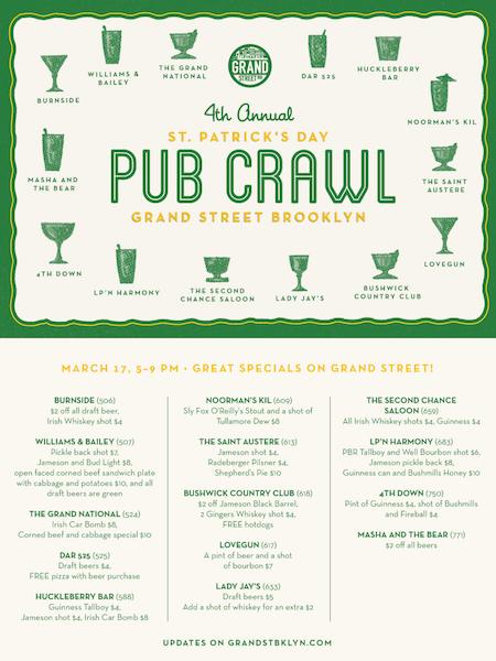 grand street st. patrick's day pub crawl