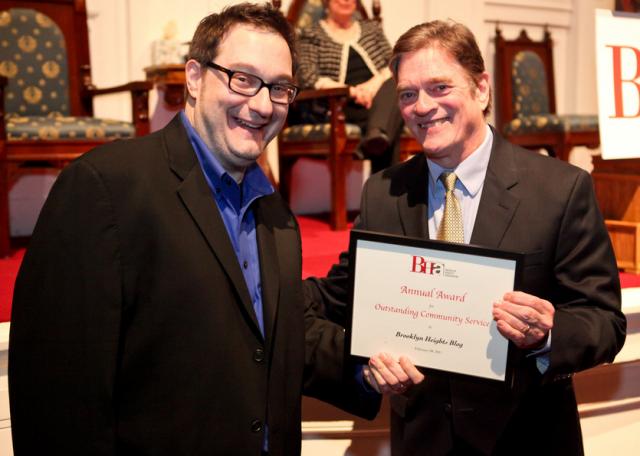 Joh Loscalzo winning an award from the Brooklyn Heights Association.