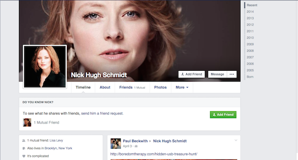 Schmidt's page is currently a shrine to Jodie Foster, which you can either keep or trash if you win