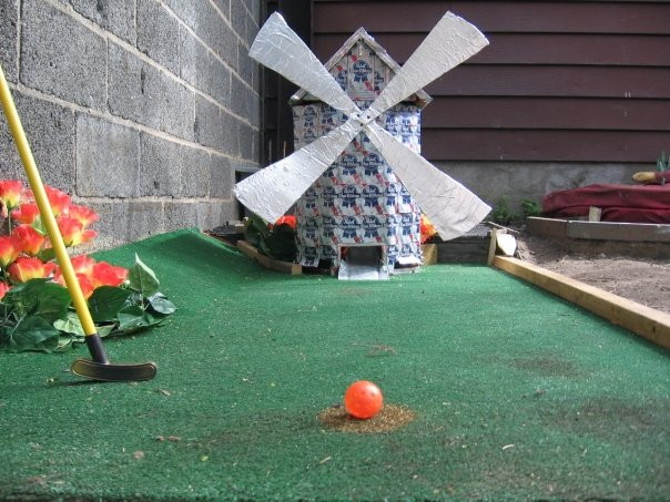 Presently the only known mini golf course windmill made of PBR cans is at Bushwick Country Club. Via Facebook.