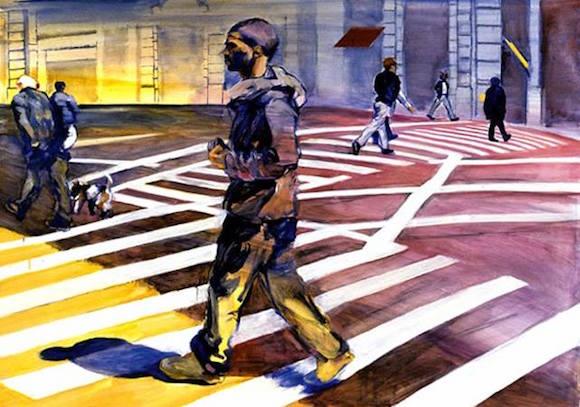 At an art walk, art about walking. via Facebook