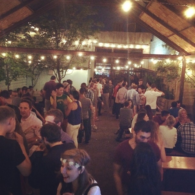 The dance floor inside at The Woods gets packed but the outside provides nice breathing room. Via Facebook.