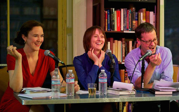 Gabfest hosts laughing it up at a Q & A. via Slate Magazine