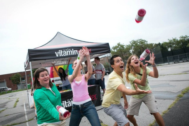 Todd P (off camera) thanklessly throwing Vitamin Water back at SummerScreen sponsors. Photo by Sean Smith, via Facebook