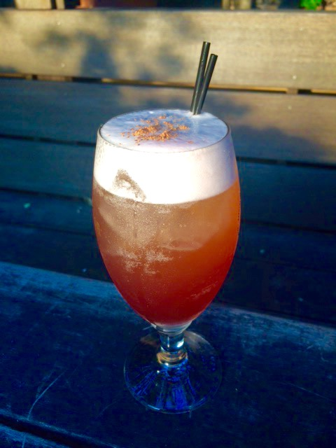 """The Hero's Journey"" at Huckleberry is an award-winning beer cocktail topped with topped with Brooklyn Brewery's 1/2 Ale Session Saison."