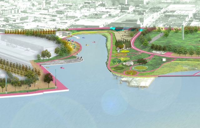Picture this, but it's not real yet, and it''s full of angry canoers. via Bushwick Inlet Park