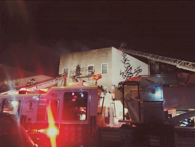 The scene from Friday night's fire at the venue. via Facebook
