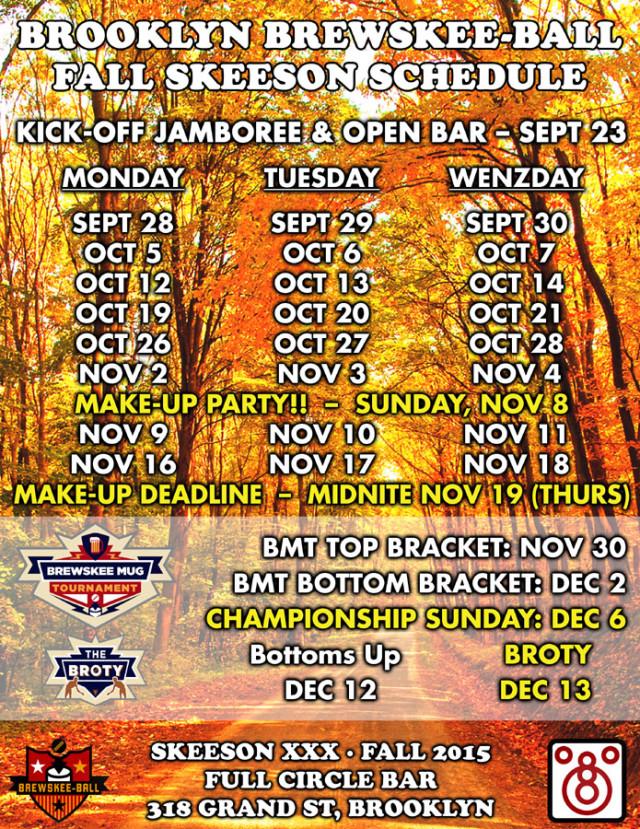Brewskee Ball 2015 schedule