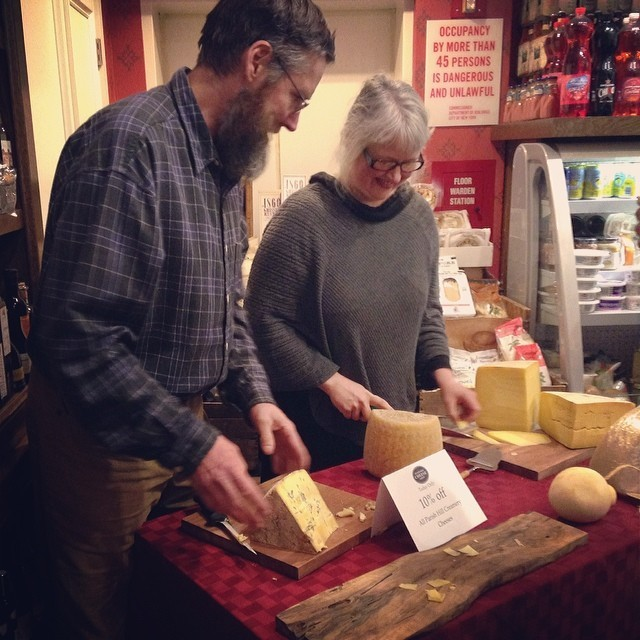 Bedford Cheese shop serves up samples on a meet-the-maker night. Via Facebook.