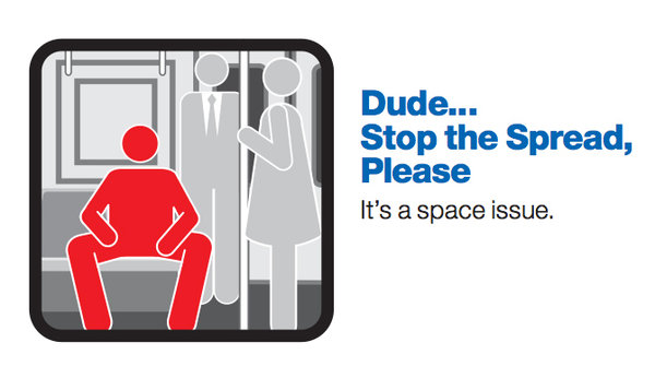 The famed manspreading red man in question.