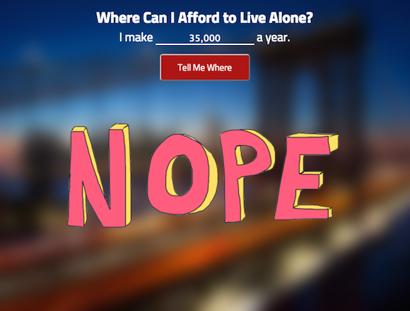 Fun new map shows you where you can afford to live alone, if at all