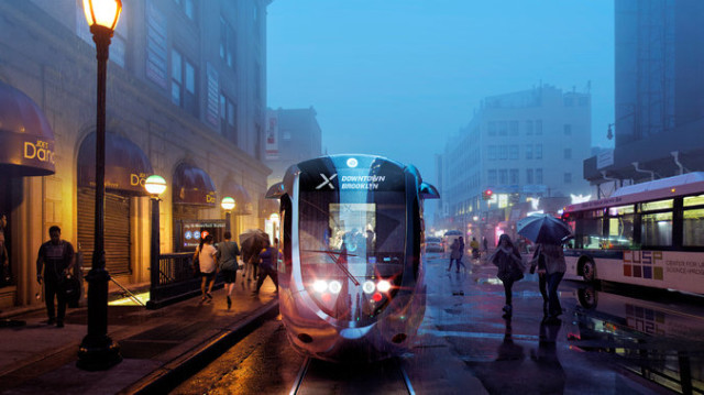 A rendering of the proposed streetcar via NYT.