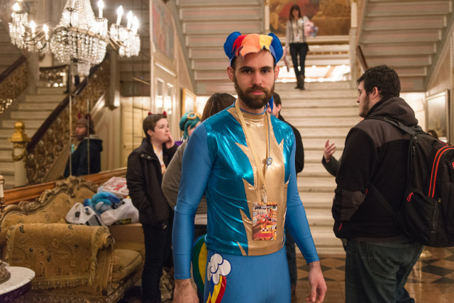 Jon, dressed in his homemade Rainbow Dash costume. Photo by Jeni Magana.