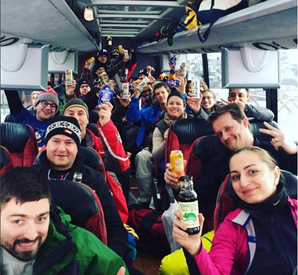 Look at this happy bus full of snowbodies. Via Instagram.