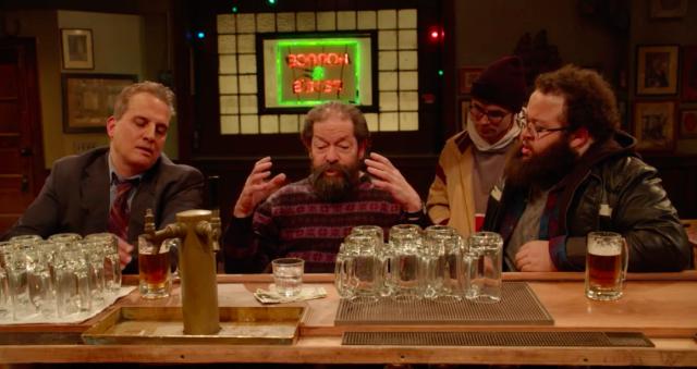 Beardo and a regular argue liberals vs. conservatives at the bar.