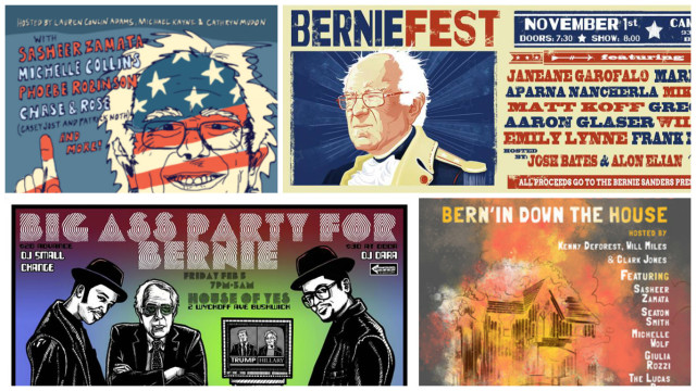 Posters from the Bernie comedy movement in Brooklyn.