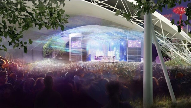 This rendering shows the amphitheater during an event.