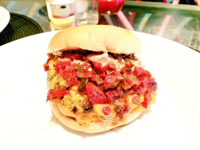 To make it a SmokeShack, add the peppers onto your burger.