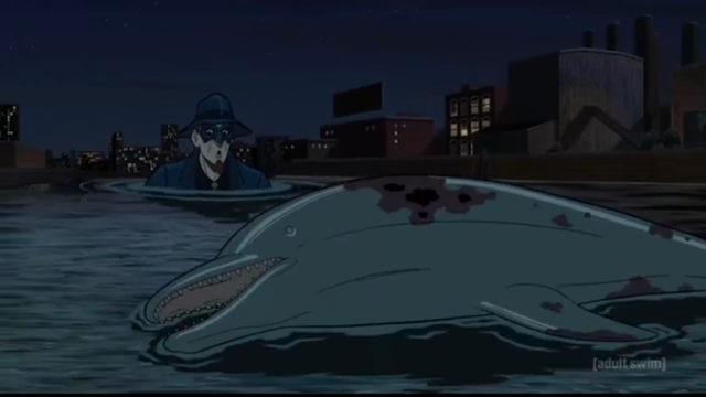 That poor dolphin never stood a chance. Via Adult Swim/screenshot
