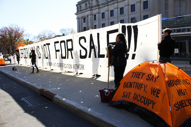 A scene from the Brooklyn anti-gentrification protest at the Brooklyn Real Estate Summit in November. Photo by Maria Travis.