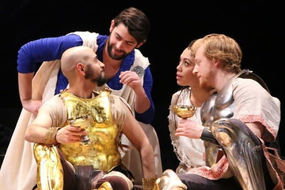 Shahi, Gillen & Nuernberger with Pericles castmember Sam Morales. Photo by Gerry Goodstein