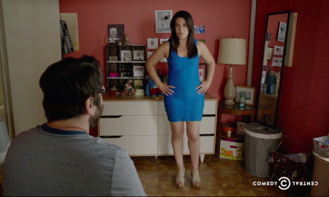Abbi's blue dress returns again.