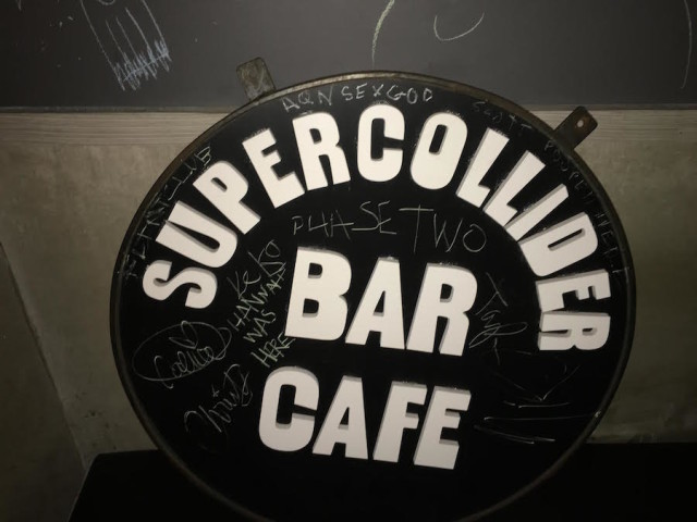 The sign that once hung outside Supercollider. Photos by Scott Steinhardt.