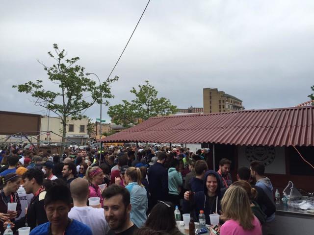 Steeplechase Beer Garden was packed after the Brooklyn Half Marathon on Saturday.