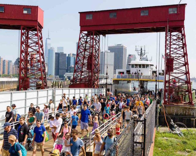 The ferry is fast and cheap! Via Governors Island website.