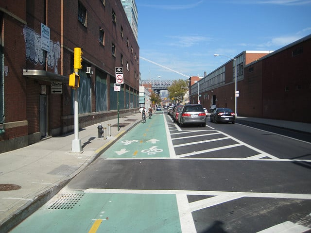 Most of Kent Avenue is uninterrupted bike lane bliss.