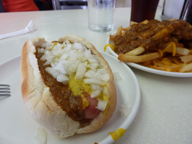 "A ""Coney"" at Lafayette Coney Island in Detroit. Via Flickr user Eugene Kim."