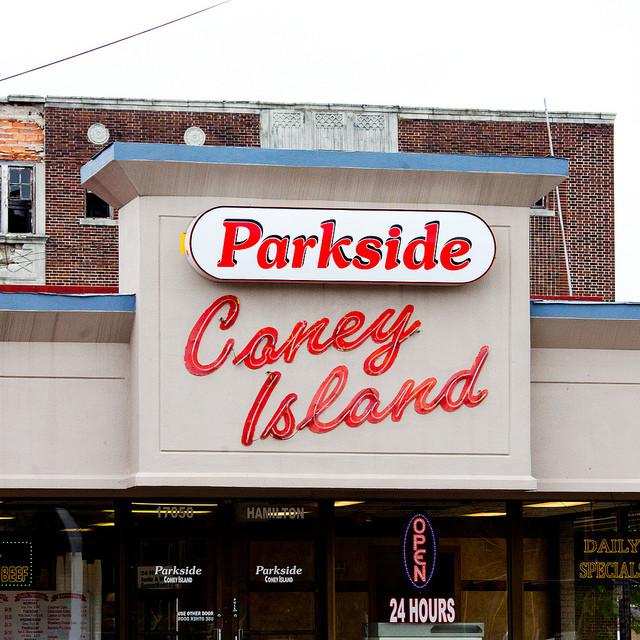 Parkside Coney Island diner in Detroit. Via Flickr user Thomas Hawk.