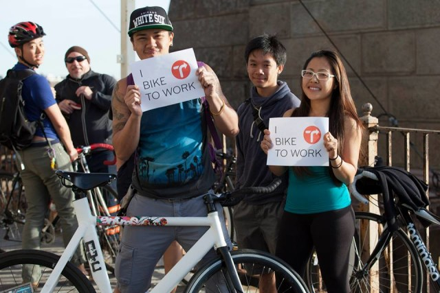 Bike to Work day comes with free snacks and photo ops. Via Transportation Alternatives Facebook.