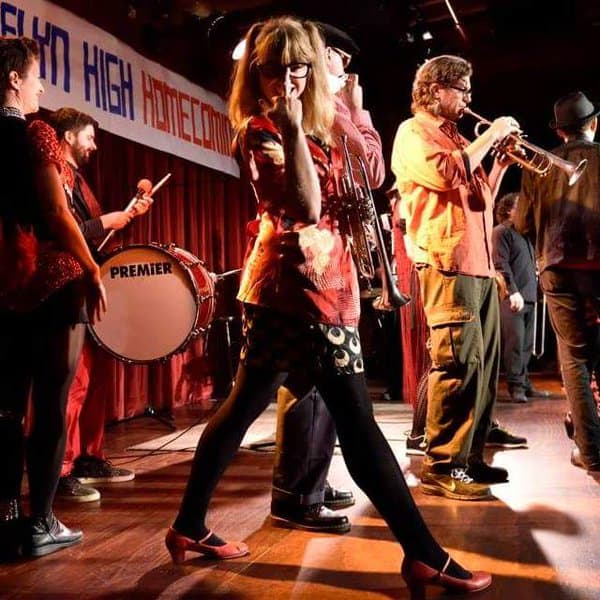 Harder on stage at The Brokelyn High party at the Bell House in 2014.