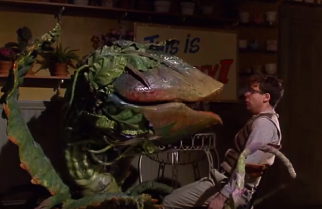 Just like Audrey 2, the movies are doubled. via youtube