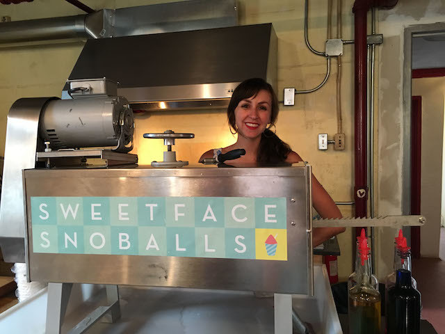 The lovely Rebecca Duckert with her NOLA-authentic ice shaving machine.