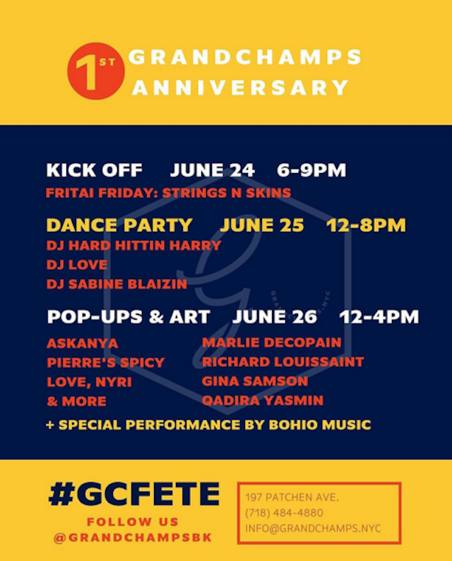 The line-up for the three-day fete via @grandchampsbk