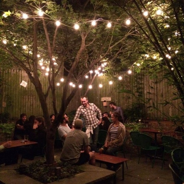 Pete's Candy Store's backyard is perfect for keeping your outdoor streak going into the night. Via Facebook.