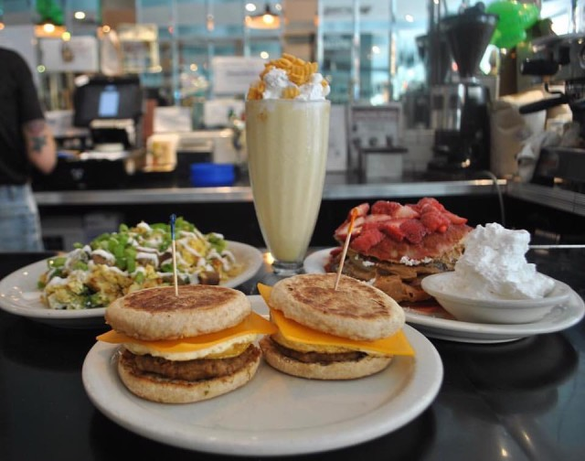 All-day breakfast at Champ's includes PB & J pancakes, cereal crunch milkshake, Champs eggy muffins and all-day hangover hashbrowns. Via Facebook.