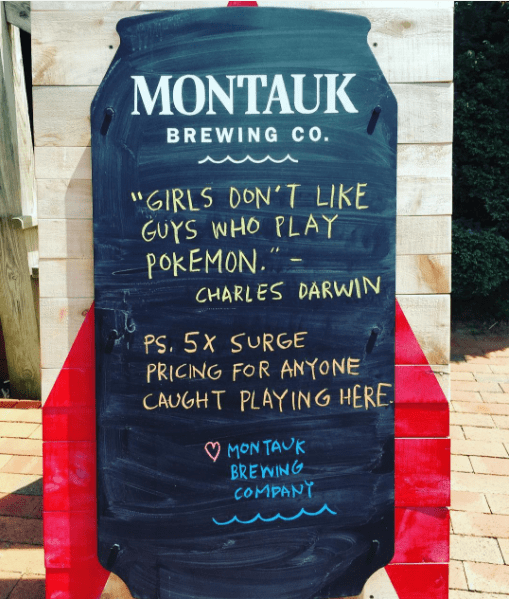 Pokemon fever — and Pokemon backlash — were rampant this week. Via @montaukbrewco on Instagram.
