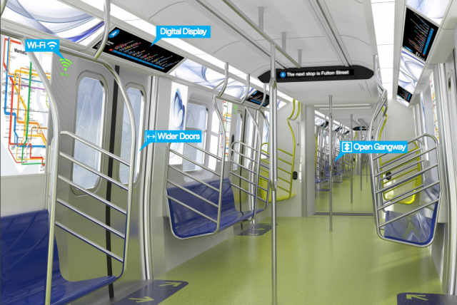 The interior of the proposed new subway cars. Via the governor's office.