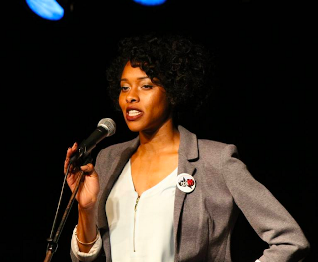 Neuroscientist Bianca Jones Marlin sharing a science story in NYC. image via The Story Collider on Facebook