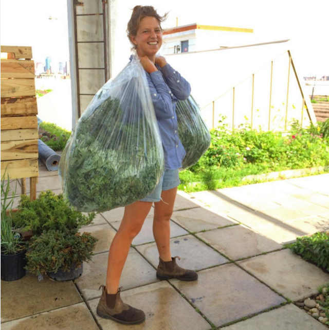 Cashen, schlepping kale. Photo via @brooklyngrange on Instagram.