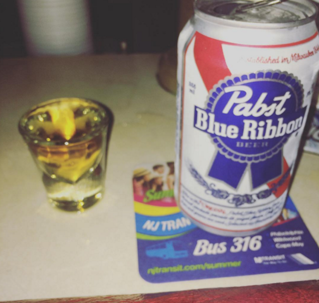 The citywide special at Bob & Barbara's: $3 for a shot of Jim Beam and a PBR. Photo via @diane_negan on Instagram.