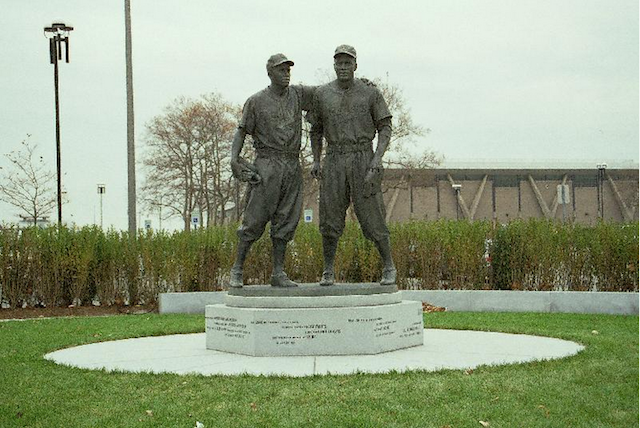 Brooklyn Dodgers Pee Wee Reese and Jackie Robinson are immortalized in Coney Island. Photo via NYC Parks Dept.