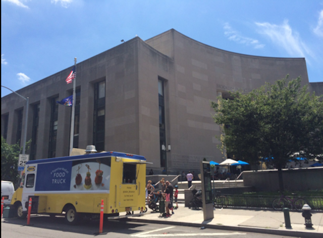 Yesterday, the truck was parked in front of the Central Library all day. Photo via @ikea_brooklyn on Twitter