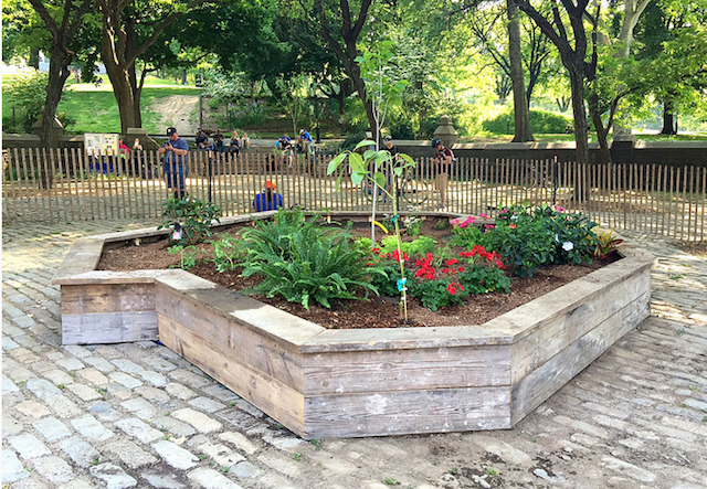 A garden in the shape of Brooklyn. photo via NYC Parks Dept.
