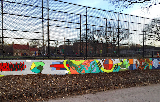 Explore this mural representing the Lenape of Brooklyn. Photo via NYC Parks Dept.