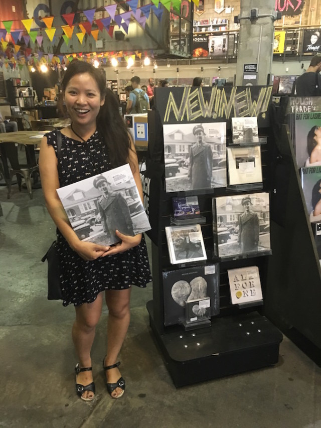 I mean, I'm pretty sure that's the face anyone would make upon finding a display of their very own record at Rough Trade. Photo by Lilly Vanek/Brokelyn.