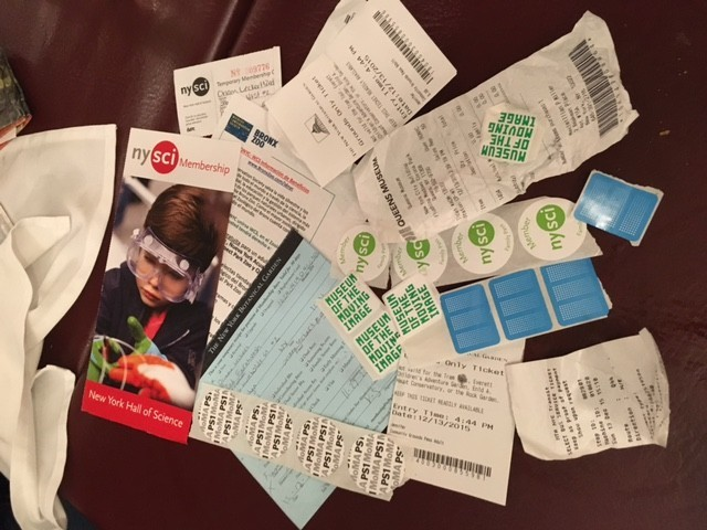 Memberships, entrance stickers, and assorted museumarathon detritus (picture by Alix Piorun)